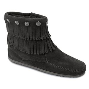 Minnetonka suede double fringe booties